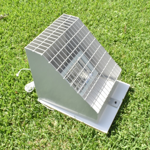 Buy a security cage to fit 12V solar flood lights online today from BlackFrog Solar. This lockable cage is designed to be fixed to a ground position to protect ground mounted flood lights from vandals and theft.