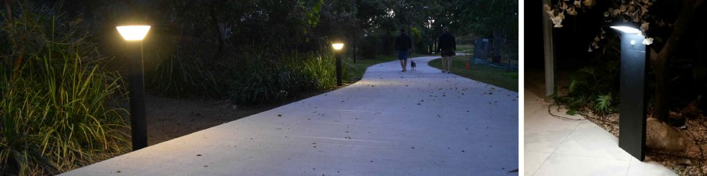 Buy modern solar path lights online today. Supplied by BlackFrog Solar, these lights are a popular pathway lighting solution for public areas